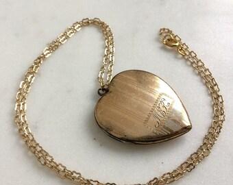 "20s 10K Gold Filled Vintage Sweetheart Locket Necklace Romantic Jewelry Initials ""MEK"" / Monogrammed Photo Pendant Fob / MARIE Elizabeth"