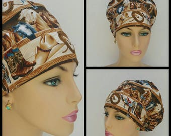 Mini - Chemo Cap - Nurses Hat - European Style - Rodeo, Horses and Boots -  100% cotton