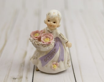 Vintage October Birthday Girl Doll Figurine