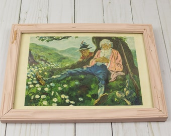 Vintage 1950s Rip Van Winkle Framed Print Nursey Kids Decor