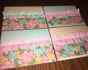 Handmade Cards in Yellow/Mint/Pink