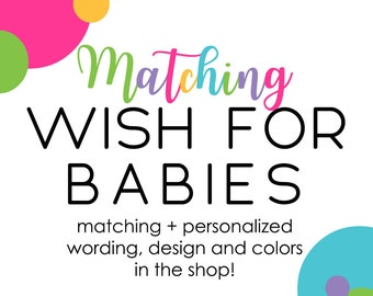 Wishes for Baby Custom Matching Shower Games Advice Boy or Girl Personalized Printable or Printed Keepsake Gifts Paper Stationery