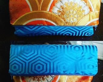 Folded Vintage Obi 2-Way Clutch