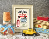 Race Car Birthday Party Invitation - Vintage -  Digital Printable Card