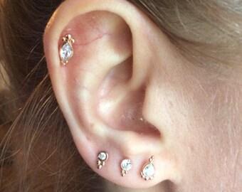 Marquise CZ diamond push in 16g bio flexible tragus /forward helix / lip / medusa / conch piercing