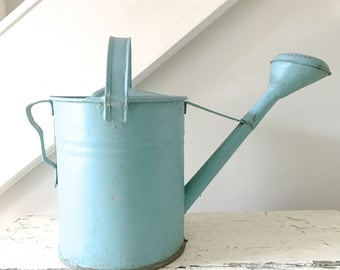Vintage Watering Can Metal Large Blue Shabby Cottage