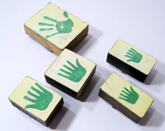 Hand Print Rubber Stamps, Left Right Palm Wood Back Used Vintage Hand Stamps, Lot of 5 , Various Sizes