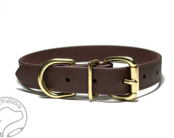 "Biothane Dog Collar - Dark Chocolate Brown 1"" (25mm) Wide - Leather Look and Feel - Adjustable Custom Size - Stainless or Brass Hardware"