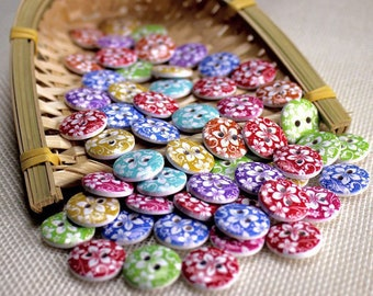 "30 PC Painted wood buttons 15mm - Wooden Buttons ,buttons, natural wood buttons ""flower"" A114"
