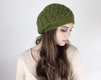 Slouchy Beanie Hat Crochet Textured HDC Beret Hat in Olive or Choose Your Color