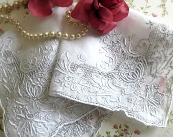Vintage Wedding Handkerchief, Heirloom Hankie, White Bridal Handkerchief w Embroiderly Detail, Vintage Linens by TheSweetBasilShoppe
