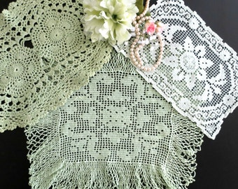 Vintage Doilies, Set of 3, Hand Dyed in Shades of Green, Crochet Handmade Doilies, Vintage Linens By TheSweetBasilShoppe