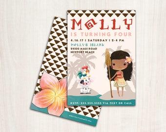 MoAna Birthday Invitation - Hawaiian Princess Party Invite
