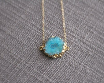 Blue Solar Quartz Necklace | Gold Edge Stone Necklace | Layering Necklace | Raw Stone Jewelry | Geode Stone Agate Solar Quartz | Slice Druzy