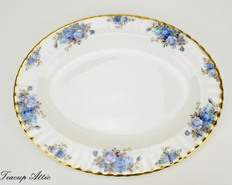 Royal Albert Moonlight Rose 13 inch Oval Platter, English Bone China Replacement Platter, ca. 1987