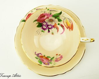 Paragon Peach Teacup and Saucer Set With Flowers, Garden Tea Party, Wedding Gift, ca. 1952-1960