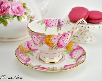 Royal Albert Candytuft Teacup and Saucer, English Bone China Tea Cup Set, Wedding Gift, Mother's Day, ca. 1940