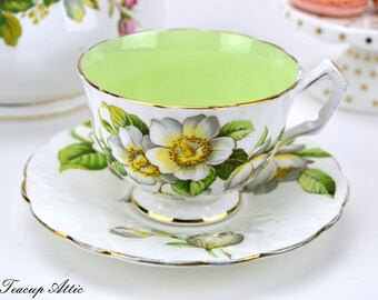 RESERVED FOR  Aynsley Embossed Teacup And Saucer With Magnolia Flowers, English Bone China Tea Cup Set, Tea Party,  ca. 1939