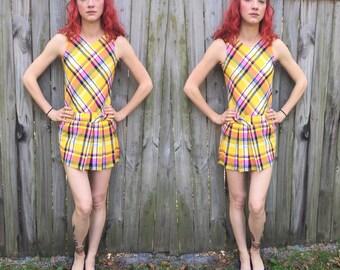 Vintage mid mod modern tennis dress plaid xs / s bright pleated skirt
