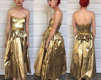 Vintage Glam Gold Sequin Gunne Sax Dress xxs rare