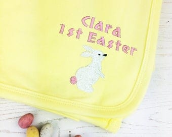Personalised Embroidered First Easter Baby Blanket - first easter gift - baby easter gift - first easter - personalised baby gift