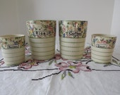 Floral Basketweave Four Piece Ceramic Canisters, Nesting Jars, Hand Painted, Made in Japan, Circa 1930's