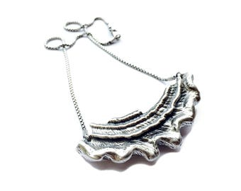 Astrea Necklace // Oxidized Sterling Silver Shell Pendant