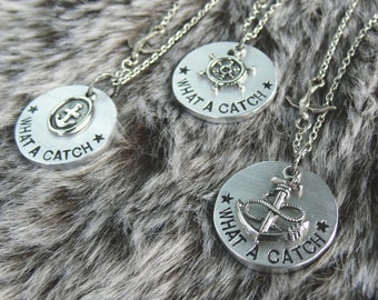 what a catch // hand-cut and stamped necklace. anchors + ship wheels. your choice, 3 designs!