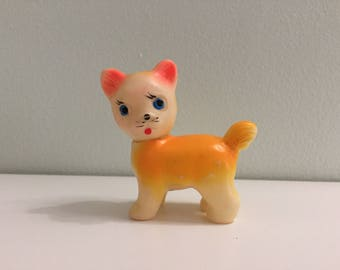 Vintage Small Squeak Cat Kitten Toy Cute Kitty Squeaky Made in Japan 1960s Orange/Yellow blue eyes Tiny retro