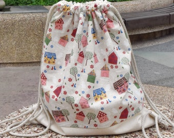 Drawstring backpack/ Cotton backpack/ Drawstring bag/ handmade backpack/ Gym bag/ Swim bag ~ Dream house (B68)