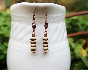 Stacked Bead Earrings, Brown Earrings, Cream Beaded Jewelry, Long Bohemian Earrings, Rustic Earrings, Gift for Her, Beaded Earrings