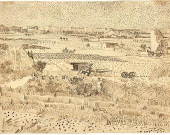 Van Gogh Reproduction.  Harvest - the Plain of La Crau, 1888. Fine Art Print.
