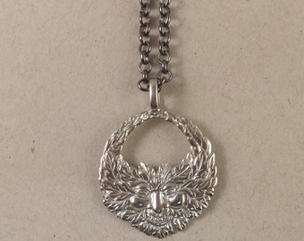 Amazing GREEN MAN Necklace! Silver-toned White Brass, FREE Shipping, gift box.