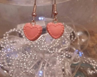 Polymer Clay pink heart Earrings