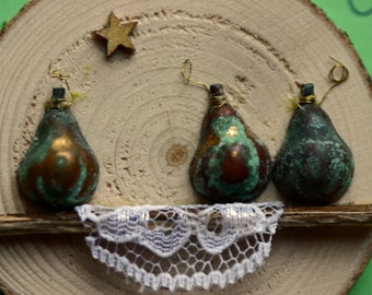 Patina pears Christmas, holiday, ornament, birch wood slice, round, art on wood, green pears on window sill, lace, star, natural, branch