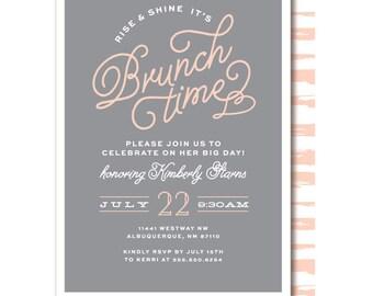 Bridal Brunch Shower Invitations, Pink and Gray, Bridal Brunch, Printable or Printed