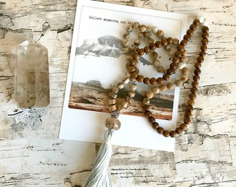 Harmony. Picture Jasper & Wood Meditation Mala