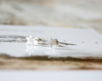 Little Stars. Brushed Sterling Silver Star Stud Earrings
