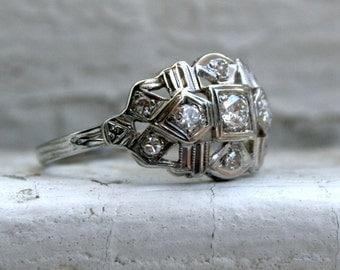 Pretty Art Deco Vintage 18K White Gold Pave Diamond Engagement Ring Wedding Band - 0.36ct.