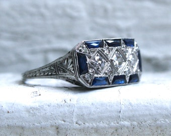 RESERVED - Fantastic Vintage Platinum Diamond and Sapphire Ring - 1.26ct.