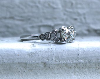 Vintage Art Deco Diamond Platinum Engagement Ring - 0.76ct