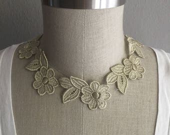 Light Gold Embroidered Flower Necklace