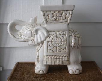 white elephant planter, vintage elephant planter, Chinoiserie, elephant pot