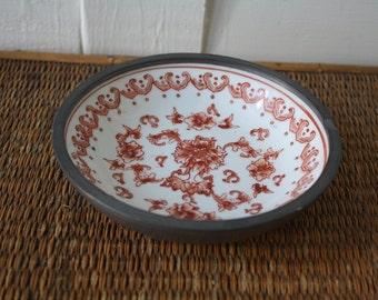 orange and white bowl, Asian bowl, Chinoiserie, ash tray, Porcelain Ware