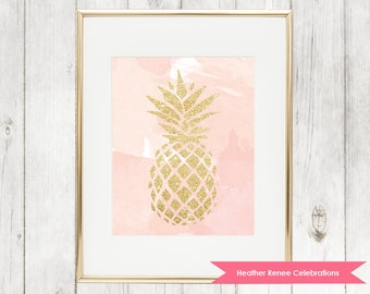 Gold and Pink Pineapple Print | Watercolor Printable Wall Art | Pineapple Themed Decor Instant Download