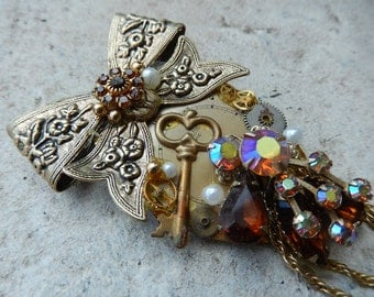 Steampunk Watch Broach - Rhinestone Brooch - Amber Rhinestone Brooch - Watch Pin - Handmade Broach - Victorian Jeweled Brooch