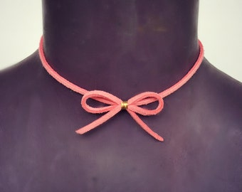 leather bow choker, pink bow choker, bow tie choker, pink choker, 90s fashion, short necklace, tiny bow necklace, boho choker,