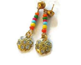 Bright Colored Beaded Gold Earrings. Stud Post. Everyday. Tropical. Gypsy Inspired. Festival Earrings. Mardi Gras