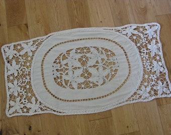 Linen cutwork and crochet lace cloth, vintage French handmade doily with vine leaves and grapes
