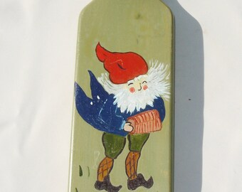 Hand Painted Wooden Gnome Playing Music Plaque - Vintage Decor